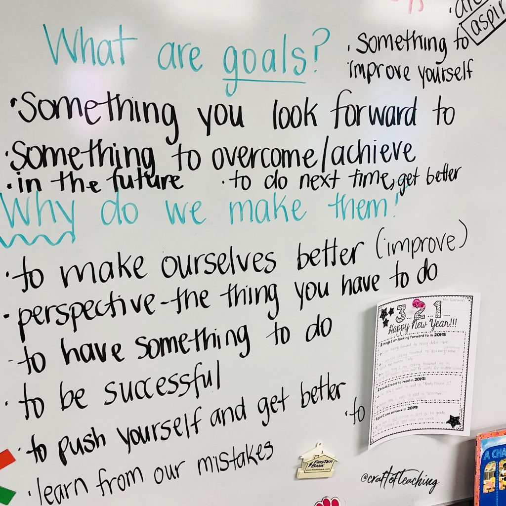 Student generated ideas for goal setting.