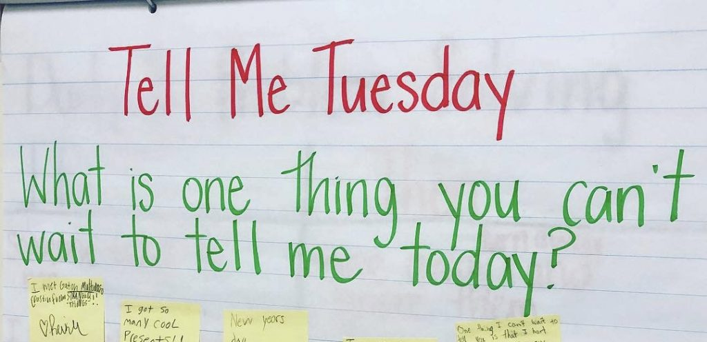 "Anchor chart collecting student responses to the question ""What is one thing you can't wait to tell me today?"""