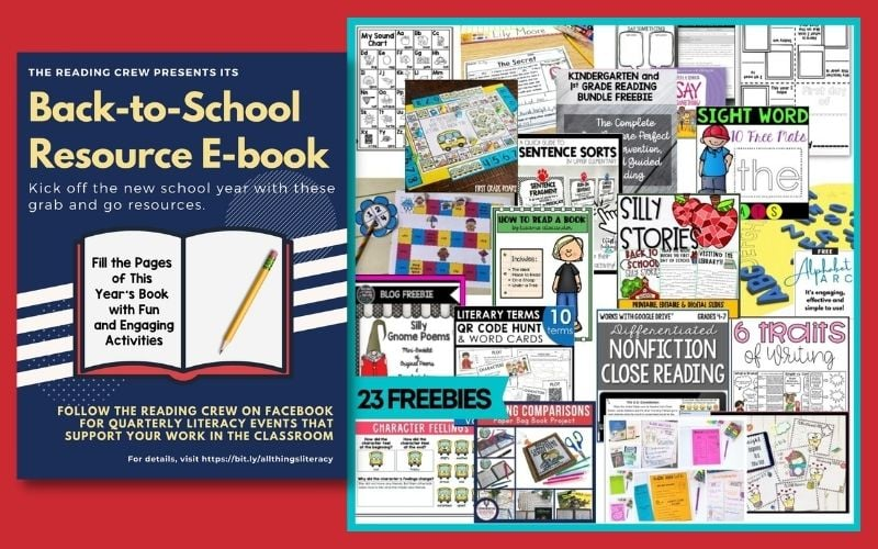 Image of ebook cover that states Back to School Resource E Book and photos of each resource included.