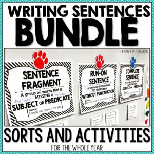 Sentence Activities Bundle cover and link.