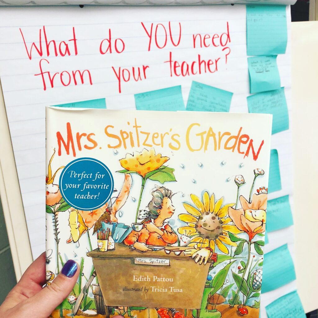 """Photo of the book """"Mrs. Spitzer's Garden"""" and an anchor chart in the background titled """"What do YOU need from your teacher"""""""