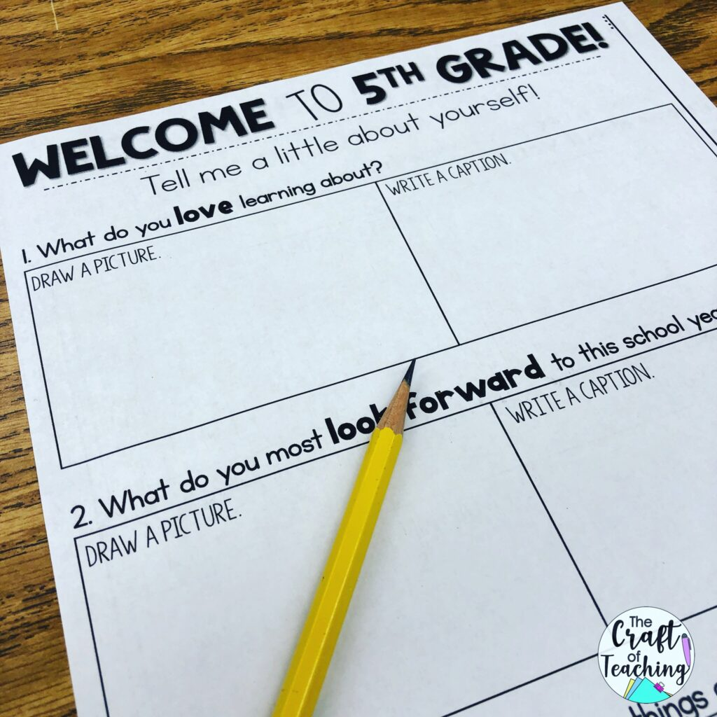 Picture of a back to school survey used for creating a positive classroom community.